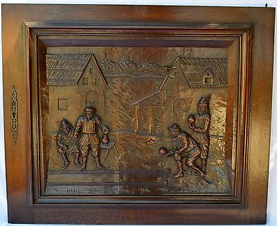 French Hand Carved Antique Cabinet Door Panel - Bocce Petanque Bowling Figures
