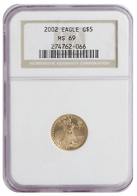 2002 - $5 1/10oz Gold American Eagle MS69 NGC Brown label