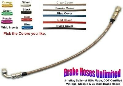 """16 inch, DOT Stainless Hose, -3AN / JIC Straight Female to 7/16"""" 90 degree banjo"""