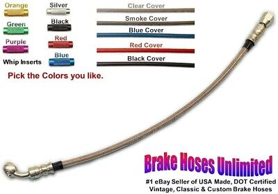 """14 inch, DOT Stainless Hose, -4AN / JIC Straight Female to 3/8"""", 45 degree banjo"""