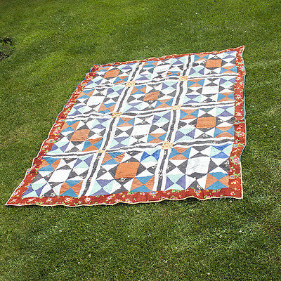 Vintage Hand Stitched Patchwork Quilt Double Sided Blue Brown Floral FREE UK P&P