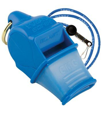 Fox 40 Sonik Blast CMG 2-Chamber Pealess Whistle with Lanyard, Blue