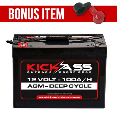 KickAss 12V 100Ah Deep Cycle AGM Battery 4x4 Dual Battery Camping Caravan