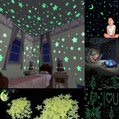 100PC Star Wall Stickers Glow In The Dark Decal Girl Kids Bedroom Dream Decor US