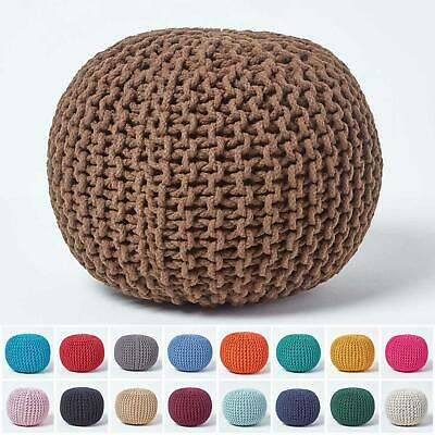 Cotton Knitted Pouffe & Footstool Round Large Chunky Ottoman Stool