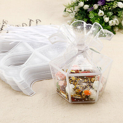 20pcs Bomboniere favor clear plastic PVC box wedding party gift with ribbon