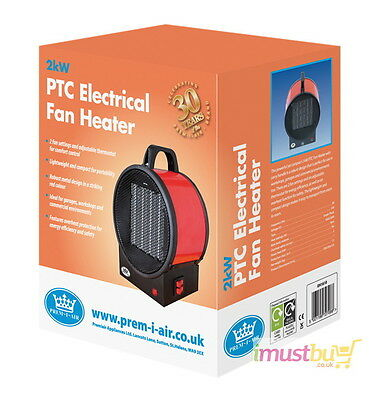 iMustbuy Prem-i-air 2kW Utility PTC Electrical Fan Heater With 2 Heat Settings