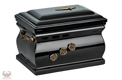 Composite Casket Cremation Ashes Urn For Adult With Brass Roses