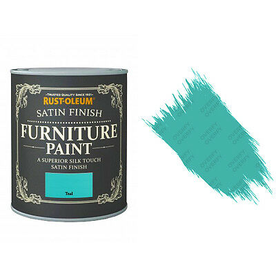 Rust-Oleum Teal Satin Chalky Chalk Furniture Paint Vintage Shabby Chic 125ml