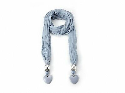 Attractive Blue Jewelled Scarf With Heart Jewel  52056