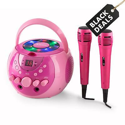 MOBIL AUNA KARAOKE MUSIK ANLAGE PARTY CD  PLAYER LCD DISPLAY PINK 2x MIKROFONE