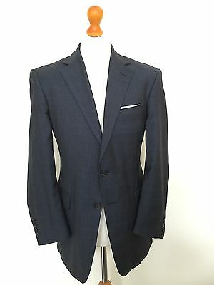 Mens Vintage Bespoke Blue Prince Of Wales   Suit - Savile Row Cloth Size 40 42