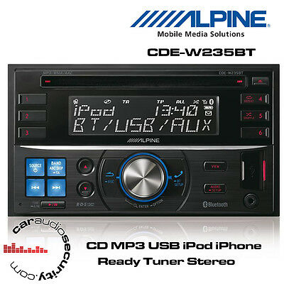 Alpine CDE-W235BT - Double Din Car CD MP3 USB iPod iPhone Ready Tuner Stereo