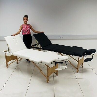 White/Black Portable Massage Table Bed Beauty Therapy Couch 3 Section Cover Bag