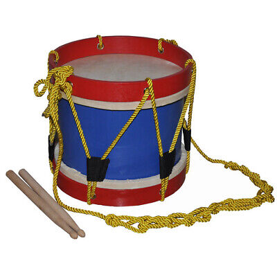 Large MARCHING WOODEN DRUM Two DRUMSTICKS EDUCATIONAL MUSICAL Percussion TOY