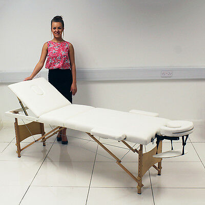 White Portable Massage Table Bed Beauty Therapy Couch 3 Section Wood + Cover Bag