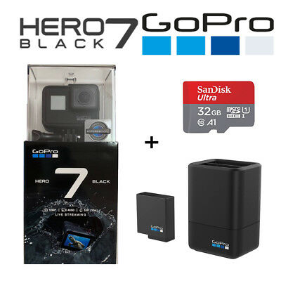 GoPro Hero 7 Black 4K60 Ultra HD HyperSmooth + 32GB SD + Dual Charger + Battery