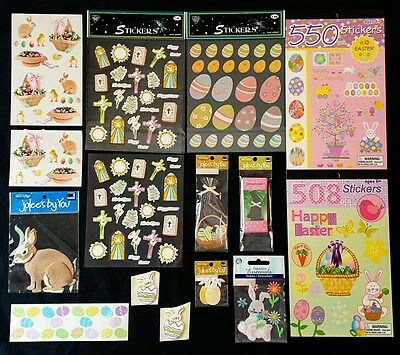Lot Of Easter Scrapbook Stickers - Bunny Rabbit Eggs Lily Cross Olive Branch