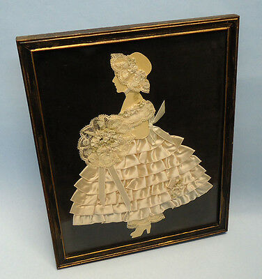 Rare antique Victorian paper cut-out doll in silhouette - framed - circa 1890