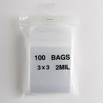 100 Clear Zip Lock Plastic Bags 3x3 Heavy Duty 2 Mil Reclosable Resealable Poly