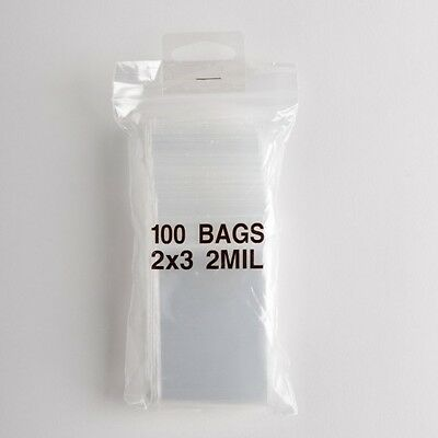 100 Clear Zip Lock Plastic Bags 2x3 Heavy Duty 2 Mil Reclosable Resealable Poly