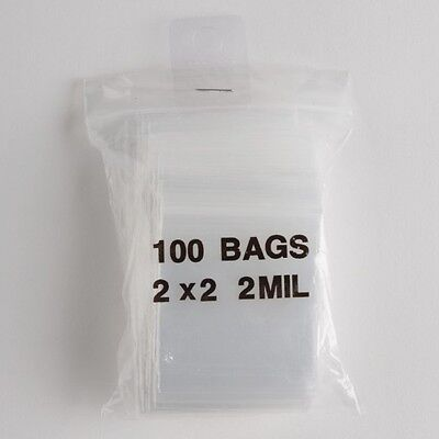 100 Clear Zip Lock Plastic Bags 2x2 Heavy Duty 2 Mil Reclosable Resealable Poly