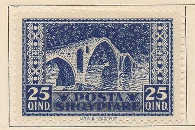 ALBANIA;  1922 early issue fine Mint hinged 25q. value