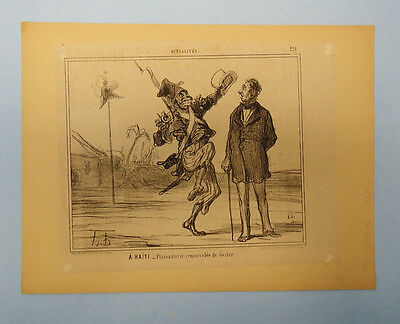 Antique 19Th Century French Newspaper Political Satire Cartoon Clipping 22/10/55