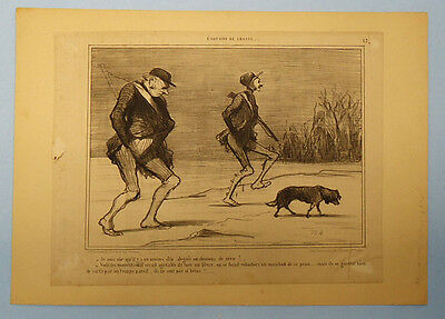 Antique 19Th Century French Newspaper Political Satire Cartoon Clipping 01/1855
