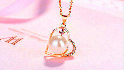 Rose Gold Pearl Heart Pendant 925 Sterling silver Women Necklace Chain Jewellery