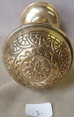 "Door Knobs PAIR Antique Cast Polished Brass VICT. Eastlake 2 1/4"" #1p (per pair)"
