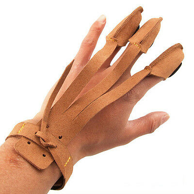 3 Finger Archery Protect Gloves Shooting Practice Pull Bow Arrow Safety Gear