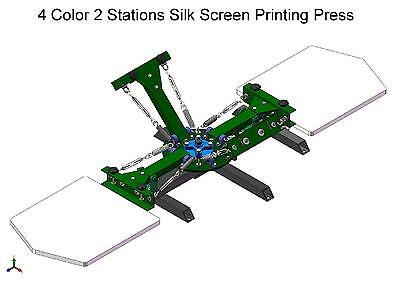 NEW 4 Color 2 Stations Silk Screen Printing Press