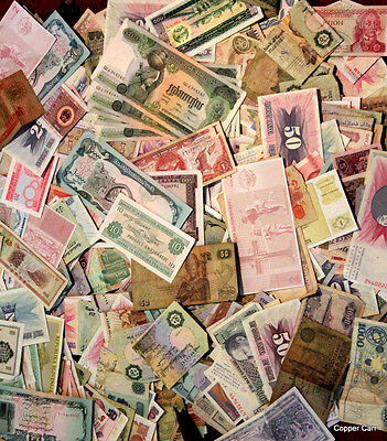 Collectors Estate Sale 50 Circulated Unsearched Foreign Banknotes + 2 US Notes