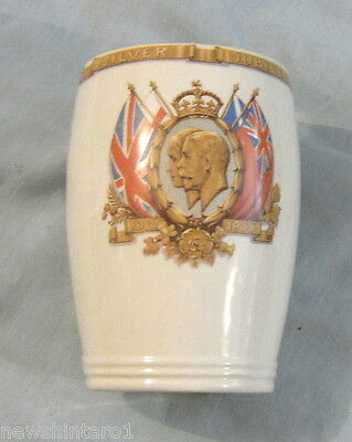 #aa7. 1935 Silver Jubilee King George V & Queen Mary Meakin Ceramic Vase