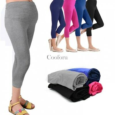 New Cropped Very Comfortable Maternity Cotton Leggings 3/4 Length Pregnancy CO99