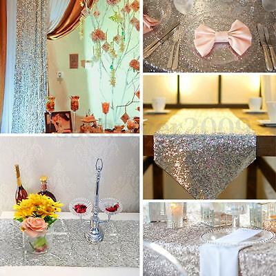 Silver Sequins Decor Table Runner Cloth For Wedding Birthday Party 30x180cm New