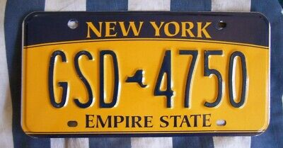 NEW YORK Empire State, Gold AMERICAN LICENSE NUMBER PLATE #NY
