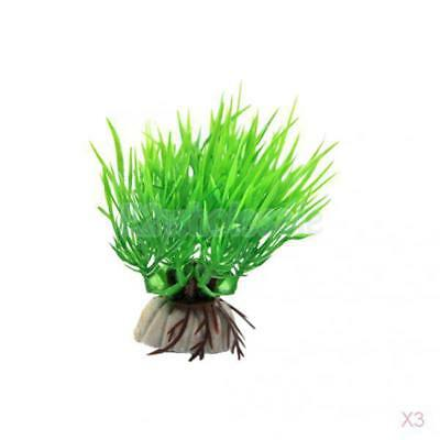 3x Artificial Plant Grass Green Plastic Aquarium Fish Tank Decoration Ornament