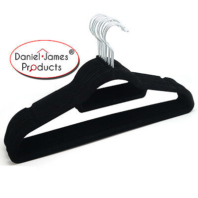 Coat Clothes Hangers Velvet Black Flocked Non Slip Trousers Dresses Slim Velour