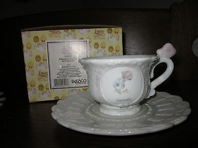 "Precious Moments Teacup & Saucer -- February ""Friendship Hits the Spot"" NIB"
