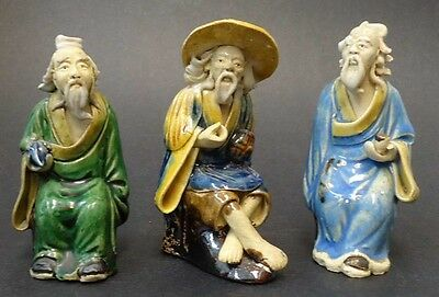 Lot Of 3 Antique Estate Chinese Mudman Figurines In Seated Poses
