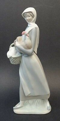 Lladro (Spain) figurine - Girl with Cockerel - ref. # 4591 - RETIRED