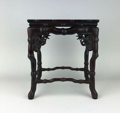 Fine Chinese Rosewood Bonsai Stand Display Table with Bamboo Details
