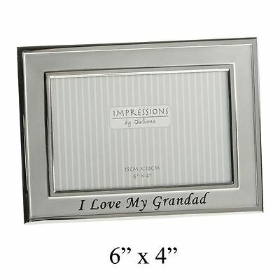 """2 Tone Silver Plated """"I Love My Grandad"""" Baby Oblong Picture Photo Frame Gift"""