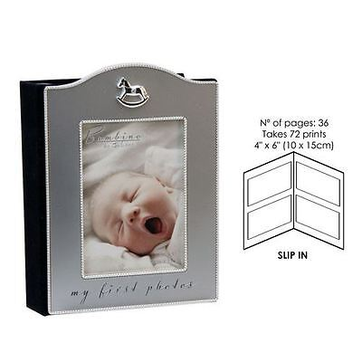 "Juliana Silver Plated With Icon ""My First Photos"" Baby Picture Photo Album Gift"