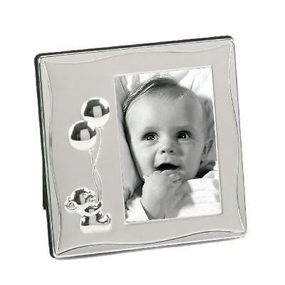 Silver Plated Teddy Holding Balloons Newborn Baby Satin Picture Photo Frame Gift