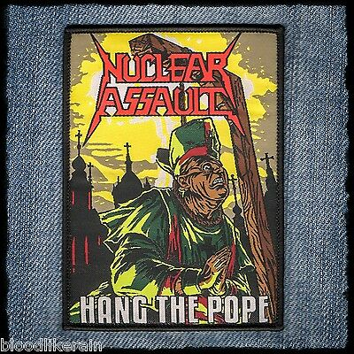 NUCLEAR ASSAULT Hang The Pope Game Over woven patch aufnäher rare limited 100