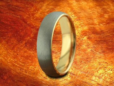6MM Brushed & Rose Gold Tungsten Wedding Band,Engagement,Two Tone,Gunmetal,Dome