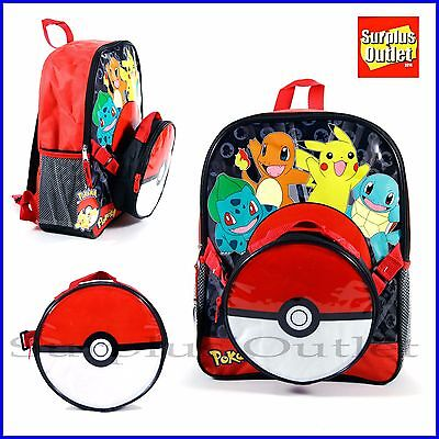 "Pokemon Backpack 16"" Large School Book Bag With detachable Lunch Bag"